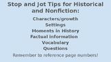Historical/NonFiction Stop and Jots