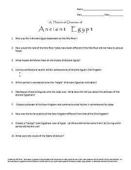 Historical Overview of Ancient Egypt