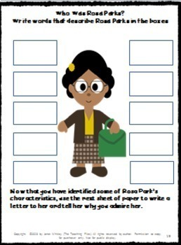 Rosa Parks-A Social Studies Packet with Literacy Activities