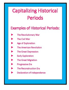 Capitalization of Historical Periods Anchor Chart