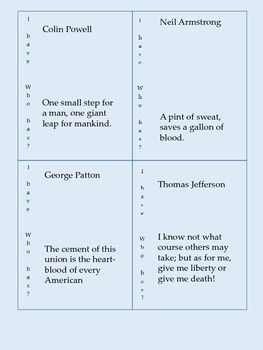 Historical Quotes in World and American History: I Have, Who Has? Fact Game