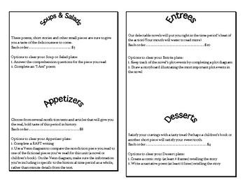 Historical Reading layered curriculum menu