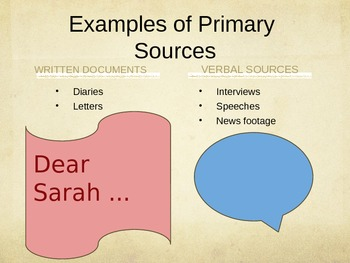 Historical Sources (Primary and Secondary Sources) PowerPoint