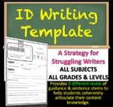 "Identification ""ID"" Writing Template Strategy - MATH, SCIENCE, HISTORY, ELA, ART"