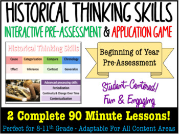 NEW! Historical Thinking & Reasoning Skills Pre-Assessment & 'Checks' Simulation