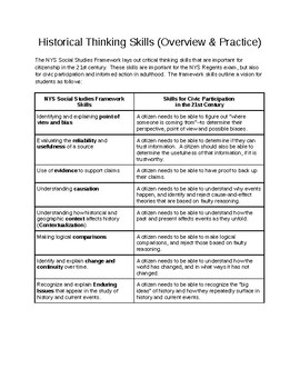Historical Thinking Skills (New York State & Common Core Applicable)