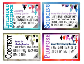 Historical Thinking Task Cards Posters for Social Studies Primary Sources BUNDLE