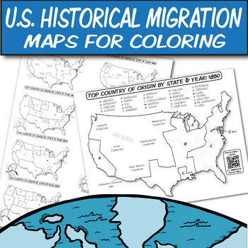 Historical U.S. Immigration Charts for Coloring-An Interactive Map Lesson