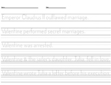 Historical Valentine's Handwriting Practice