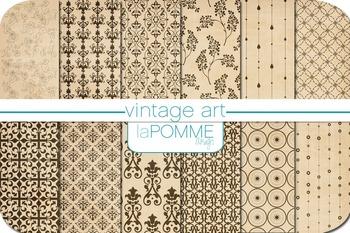 Historical Vintage Beige Patterned Digital Paper Pack