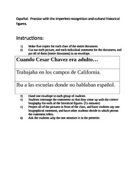 Historical figures and imperfect/preterite recognition. Realidades 2 4a 4b