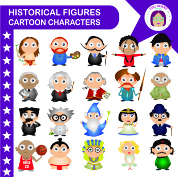 Historical figures packet, cartoon characters, kids, clip art