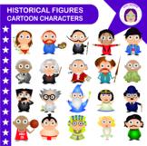 Historical figures packet, cartoon characters, kids, clip art