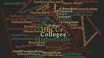 HBCU Wordcloud Poster in Color w/ Black Background