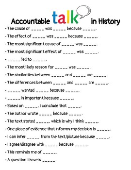 History Accountable Talk Sentence Starters / Sentence Stems