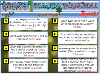 History Activities Christmas Quiz 2019
