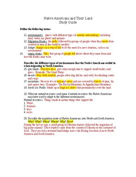 History Alive Chapter 2 Native Americans and Their Land Study Guide with Key