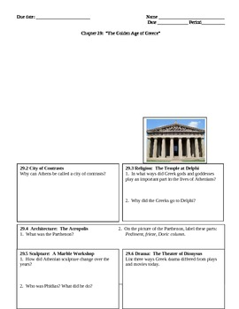 History Alive--Chapter 29 The Golden Age of Athens Graphic Organizer