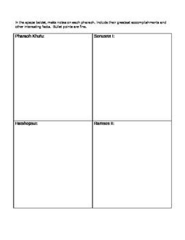 History Alive Graphic Organizer: Egyptian Pharaohs Chapter 8