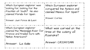 History Alive Quiz Quiz Trade Review Game--European Explorers Settlements