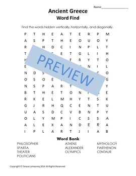 History Ancient Greece Word Find {Bell Ringer}