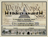 History Awards Certificate