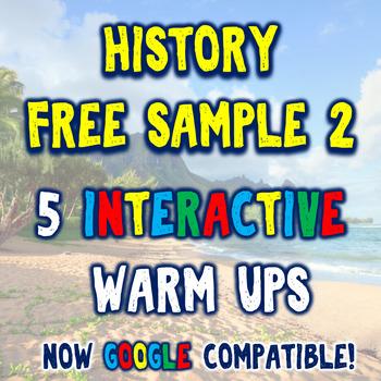 History Bellringer Free Sample Pack 2 - 5 DBQ Bellringers Warm Ups