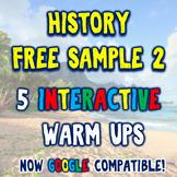 History Warm Ups FREE Sample Pack #2 - Extra 5 DBQ Bellringers!