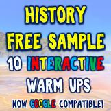 History Warm Ups FREE Sample Pack - 10 DBQ Bellringers!