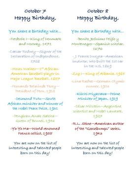 History Birthday Flyers/Bookmarks--October