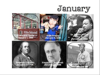 History Calendar (months, dates and historic birthdays,events and holidays)