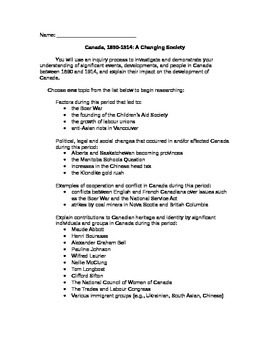 History Canada: A Changing Society, New Curriculum Ontario Grade 8, Inquiry