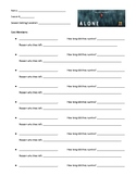 History Channel's ALONE worksheet
