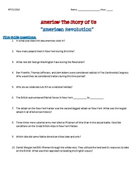History Channel's The Story of Us: American Revolution Video Guide (Colonies)