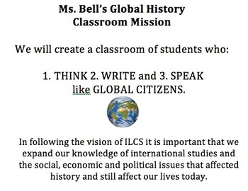 History Class Mission, Class Goal, and Class Overview for Bulletin Board
