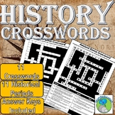 History Crosswords & Answer Key: 11 Periods, Egyptians, Gr