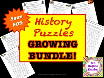 History Cryptogram Puzzles GROWING BUNDLE!