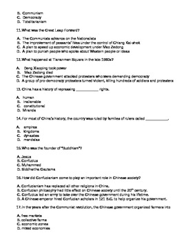 History & Culture of China Test