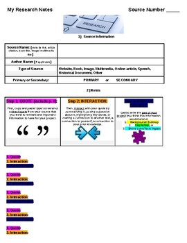 History Day Interactive Research E- Notes Template