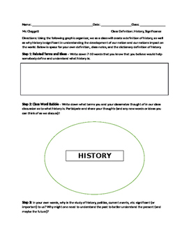 History Definition Activity - Expanding Students Definition of History