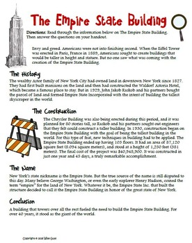 Willis Tower and Empire State Building Informational Text Activity