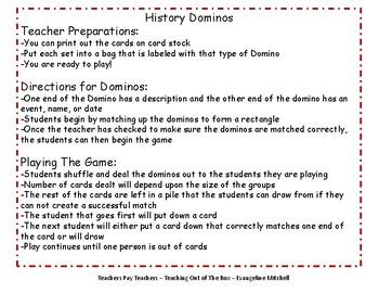 History Dominoes - Colonies & Revolution
