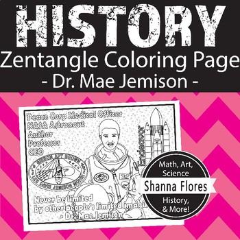 History: Dr. Mae Jemison Zentangle Coloring Page - NASA ...
