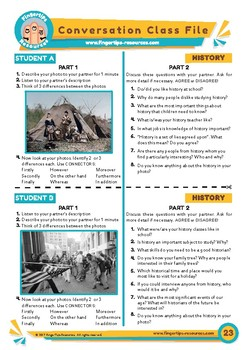 History - ESL Speaking Activity