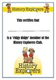 History Explorers Club Certificate