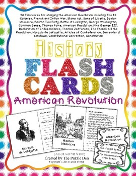 History Flashcards - American Revolution