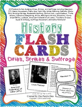 History Flashcards - Cities, Strikes and Suffrage