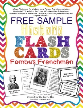 History Flashcards - Famous Frenchmen Free Sampler
