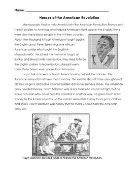 History HEROES OF THE AMERICAN REVOLUTION lesson w/ 20 Reading Comprehension Qs