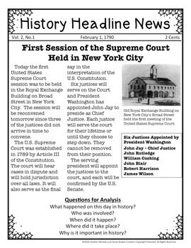 History Headline News Informational Text Social Studies Reading February Bundle